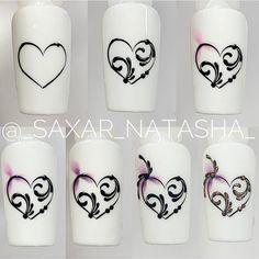 "Nail_Paradise 💟 on Instagram: ""Быстро и стильно 🙌🏼💙 ♥️ LIKE ME ❤️ ➡️FOLLOW ME @nail_paradise_ua 🤗  #nail #nails #manicure #naildesign #nailideas #nailart #дизайнногтей…"" Swirl Nail Art, Heart Nail Art, Heart Nails, Nail Art Hacks, Nail Art Diy, Diy Nails, Nail Art Designs, Elegant Nail Designs, Nail Drawing"