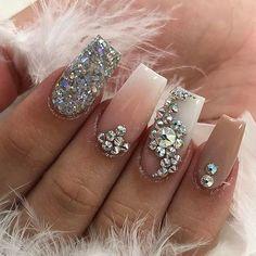 nail art designs   acrylic ideas 2017   best   #rhinestones   coffin   diamonds   jewels   gems   pink   sliver glitter