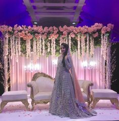 Enchanted garden theme backdrop with mush greenery and light pink flowers, perfect for this arab wedding, maharani reception backdrop ideas Call @idesignEvents