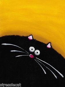 ACEO Print Acrylic Painting Folk Art Whimsical Illustration Fat Black Cat Yellow | eBay