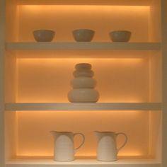 Top light and bottom light recess hidden light strip. Using RGB LED Strip Lights by Lumilum