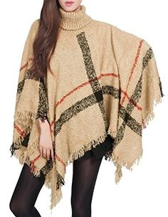 Beaute Fashion Plaid Cowl Neck Turtle Neck Fringed Poncho Shawl Sweater Cape One size Camel >>> Check this awesome product by going to the link at the image.