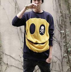 Personalized smile skull sweatshirt for boys emoji hip hop pullover