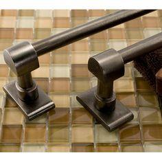"24"" Solid Bronze Classique Towel Bar - Distressed Antique Pewter"