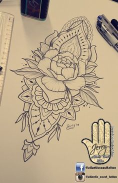 Beautiful peony rose flower tattoo idea design for a thigh arm by dzeraldas jerry kudrevicius from Atlantic Coast tattoo. Mandala detail pretty patterns and lace ornamental drawing #TattooIdeasFlower