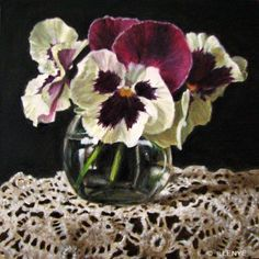 Pansies in Glass Jar with Crocheted Lace contemporary realism still life oil painting purple violet white, painting by artist JEANNE ILLENYE