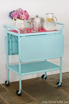 Vintage Kitchen Cart Makeover – You can do this with spray paint to lots of older pieces and make them look trendy and match any room in your house // via May Richer Fuller Be