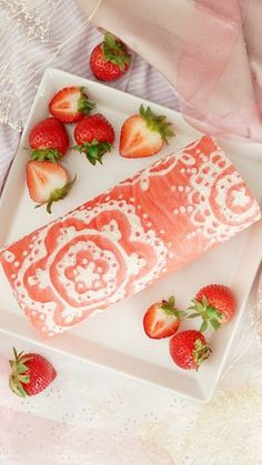 Get fancy with a stunning strawberry and cream roll cake gorgeously detailed with a lattice pattern design.