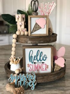 Ice Cream Sign, Tray Styling, Tiered Stand, All I Ever Wanted, Icecream Bar, Wood Cutouts, Hello Summer, Home Living, Summer Crafts