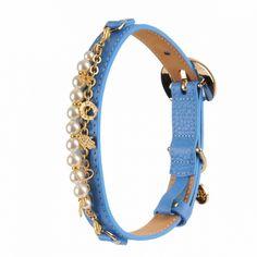 monalisa leather dog collar blue by Moshiqa $120.00  #Moshiqa #BitchNewYork #Dogs #LeatherDogCollar #DogCollar #Blue