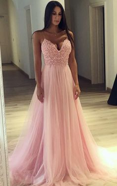 Prom Dress with Thin Straps, Back To School Dresses, Prom Dresses For Teens, Graduation Party Dresses - prom - Kleid Prom Dresses Long Pink, Tulle Prom Dress, Pretty Dresses, Lace Dress, Sexy Dresses, Dress Long, Dress Straps, Elegant Dresses, Wedding Dresses