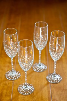 PolkaDotted Champagne Flutes set of 4 handpainted by ArtsyGirl1, $55.00. Her stuff is awesome!