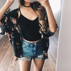 Mariana Black Floral Kimono