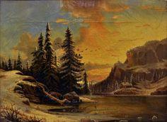 AKSESJON 1916 (Prot.)  Produksjon  KUNSTNER Ibsen, Henrik   Romantisk motiv, landskap på ettervinteren eller tidlig vår. Solnedgang eller -oppgang.