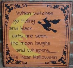 Primitive Witch wood halloween folk art signs witchcraft black cats samhain sign plaques decorations wicca wiccan decor pagan party poem by SleepyHollowPrims, $27.00 USD