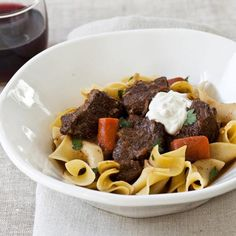 This warming eastern European short rib stew is best served in deep bowls over buttery noodles.   More Beef Dishes...