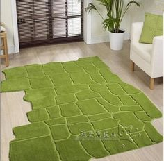 Countryside Green Irregular Carpet Living room, coffee table, sofa, bedroom…