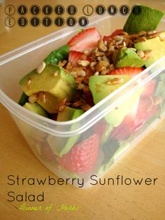 Strawberry Avocado Sunflower Seed Salad - Vegan