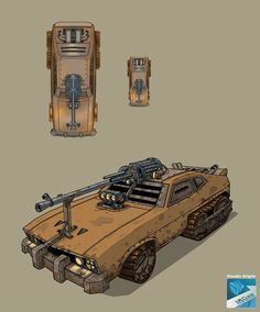 mindingmymonsters: War CAR by claudiobitcube The ammunition for that cannon is big and heavy - you're going to need a trailer to carry it. Where will you find one of those after the Apocalypse? Here you go.