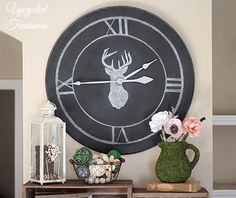 How to Upcycle a Table into a Clock! See how I transformed an outdated thrift shop table into something new for our gallery wall! UpcycledTreasures.com