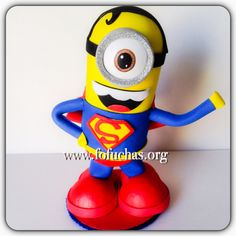 Superman inspired minion is my latest fofucho doll. He is handmade using foam sheets. Stands at about 10 inches. Can be a perfect cake topper or centerpiece for a Superhero Minion theme party. Keep it as a decoration as a decoration in your child's room after the party. To purchase email info@fofuchas.org or visit us at www.facebook.com/FofuchasHandmadeDolls #Minions #Superheros #fofuchas #birthday