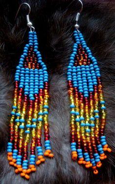 Blue seed bead earrings, native earrings, dangle, Southwestern, women's jewelry, Bullseye team, ShamelessAdvteam