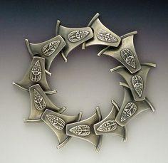 Bracelet | Gordon Uyehara. 'Dragon Tail'.  Silver Clay and Sterling