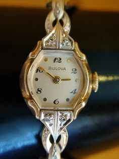 BULOVA ANTIQUE SWISS VTG 1953 10K GOLD RGP DIAMOND LADIES WATCH SERVICED WORKS | eBay  $135 ....just like mine!!
