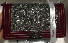 4e5a3f053732 CN0023 Boy Chanel Black Diamond Flap Shoulder Bag Jujube Red Original  Leather A67086 Silver