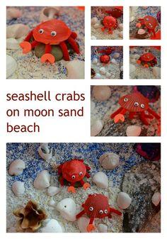 Seashell crabs on moon sand beach {Smile Play Learn}