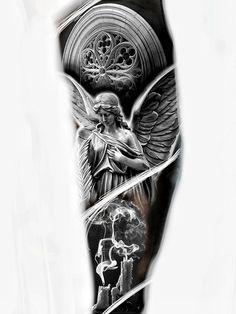Realistic Tattoo Sleeve, Leg Sleeve Tattoo, Best Sleeve Tattoos, Sleeve Tattoos For Women, Tattoos For Guys, Cool Chest Tattoos, Cool Forearm Tattoos, Badass Tattoos, Angel Tattoo Designs