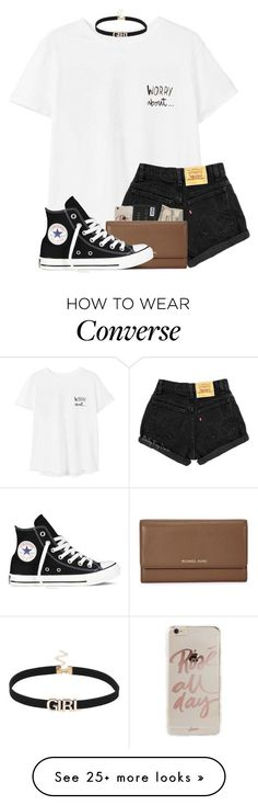 """""""just another day to wish you were here"""" by madiweeksss on Polyvore featuring MANGO, Sonix, Michael Kors, Converse and CalebLogan"""