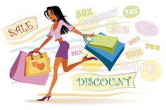 discount store shopping illustration
