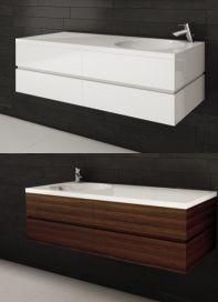 """Vanités salle de bain de la <Série AXE> 48"""" avec lavabo intégré - AQUA MOBILIA. Disponible chez Montréal - Les - Bains Aqua, Trough Sink, Budget, Water"""
