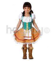 Precioso #disfraz de #tirolesa para #niña. Compuesto por vestido con corpiño y delantal. #Disfraces