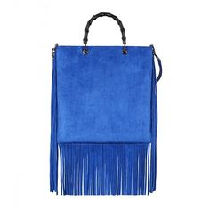 Gucci Blue Suede Fringe Shopper Tote Bag (€1.055) ❤ liked on Polyvore featuring bags, handbags, tote bags, purses, borse, leather tote, handbags totes, blue leather tote, leather tote bag and leather purse