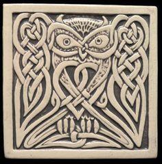 Decorative handmade ceramic tile: Handmade relief carved Celtic owl ceramic tile