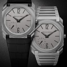 Bulgari's new Octo Finissimo Automatic is lightweight and resilient in titanium. It has a matte grey finish for the fashion forward look and comes with either a leather strap or titanium bracelet. Welcome to the thinnest automatic movement in the world: Bvlgari's record breaking watch for men: http://www.thejewelleryeditor.com/watches/article/bulgari-world-record-breaking-watch-automatic-movement-thinnest-in-world/ #watches