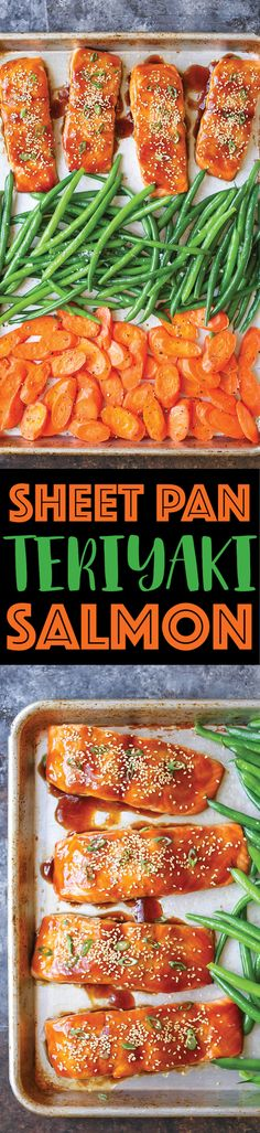Sheet Pan Teriyaki Salmon - Damn Delicious Salmon Recipes, Fish Recipes, Seafood Recipes, Salmon Food, Healthy Food Recipes, Cooking Recipes, Yummy Food, Flour Recipes, Healthy Foods