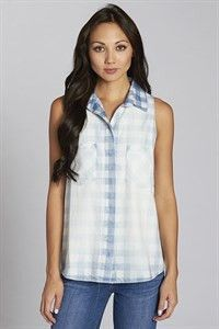 Sleeveless Washed Gingham Printed Button Down Top