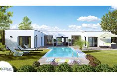 Modern villa design with swimming pool using modern house exterior illustration with swimming pool glass house and house elevation design pdf - Amazing Home Design Flat Roof House, Facade House, Build Your House, Building A House, Modern Bungalow House, Modern Villa Design, Retreat House, Courtyard House, House Elevation
