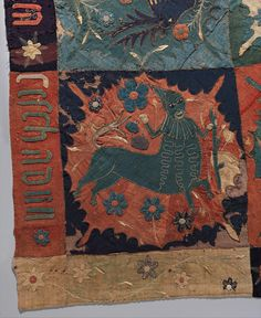Detail of textile fragment with Unicorn, Deer, Centaur and Lion Date: ca. 1500 Geography: Made in Scandinavia (possibly Sweden)