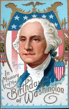 1910 Embossed, Color Litho Postcard - George Washington's Birthday