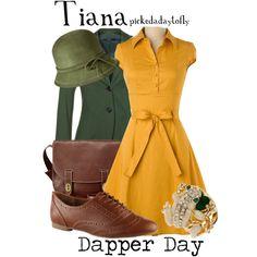"Vintage style dapper day.  ""Tiana"" by pickedadaytofly on Polyvore"