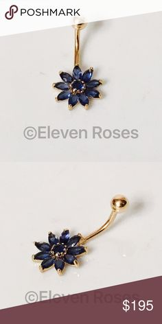 14k Gold Blue Sapphire Flower Belly Button Ring 14k Gold - Blue Sapphire Flower - Hallmarked 14k -   Exact Size As Shown  -    Listing Images Are Of Actual Item Being Offered 14k Gold Jewelry Rings