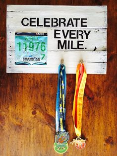 Celebrate Every Mile - bib and medal display