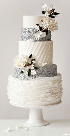A frilly and flirty wedding cake design with fabulous silver sequins that glitter | Inspired by The Nutcracker ballet
