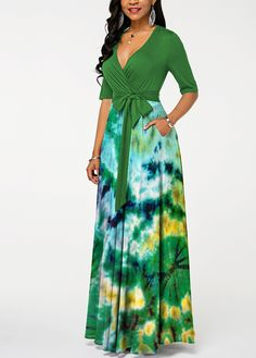 V Neck Half Sleeve Patricks Day Printed Maxi Dress African Maxi Dresses, Latest African Fashion Dresses, Maxi Gowns, Ankara Dress, African Print Fashion, African Attire, Dress Skirt, African Dresses Online, Elegant Dresses
