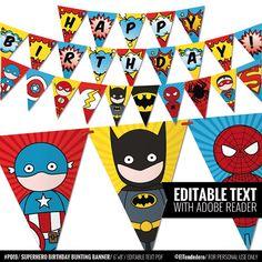 Superhero bunting banner to decor your superhero by eltendedero