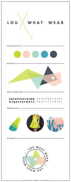 Lou What Wear brand board. Identity Design, Brand Identity, Visual Identity, Branding Your Business, Graphic Design Tips, Brand Style Guide, Brand Board, Web Design Inspiration, Color Inspiration